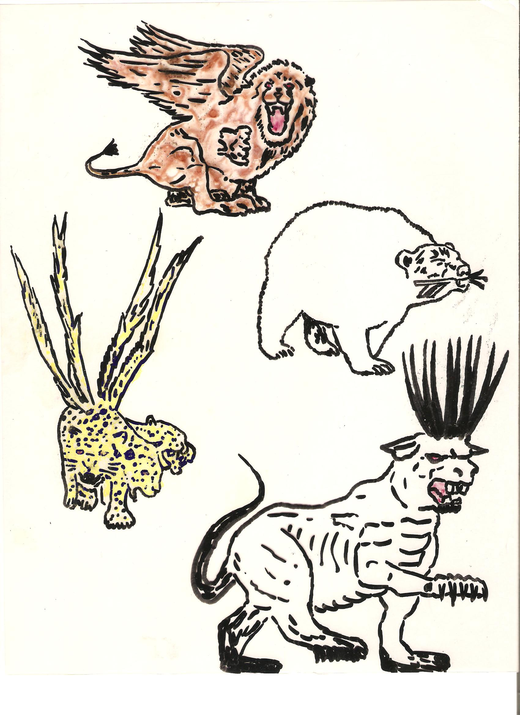 Four drawings of the four beasts that Daniel saw in his dream.