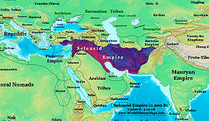 A map showing the ancient boundaries of the Seleucid Empire.