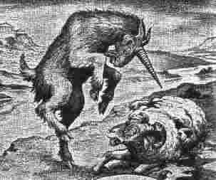 A picture of a unicorned he-goat bashing a ram.