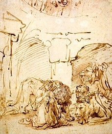 A drawing of the lions in the Lion's Den.