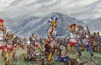 A painting of the battle ofThermopylae.